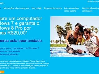 Aberto registro de atualização do Windows 7 para o 8 em PCs novos por R$ 29