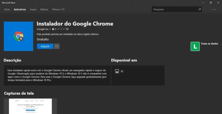 Google disponibiliza instalador do Google Chrome na Microsoft Store