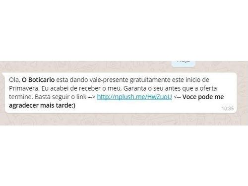 Cupom falso da loja O Boticário engana mais de 400 mil no WhatsApp