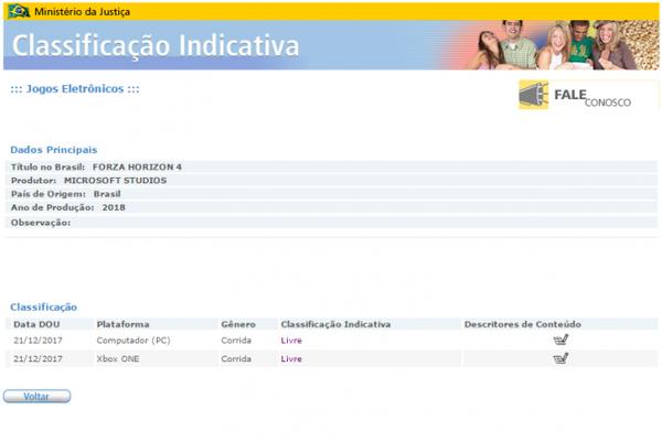 Forza Horizon 4 é encontrado em site brasileiro de classificação indicativa