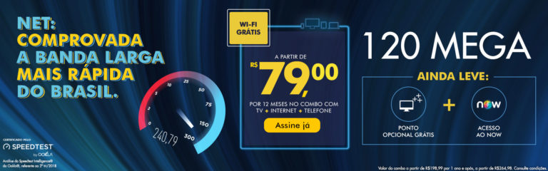 Ranking coloca Net como empresa de banda larga fixa mais rápida