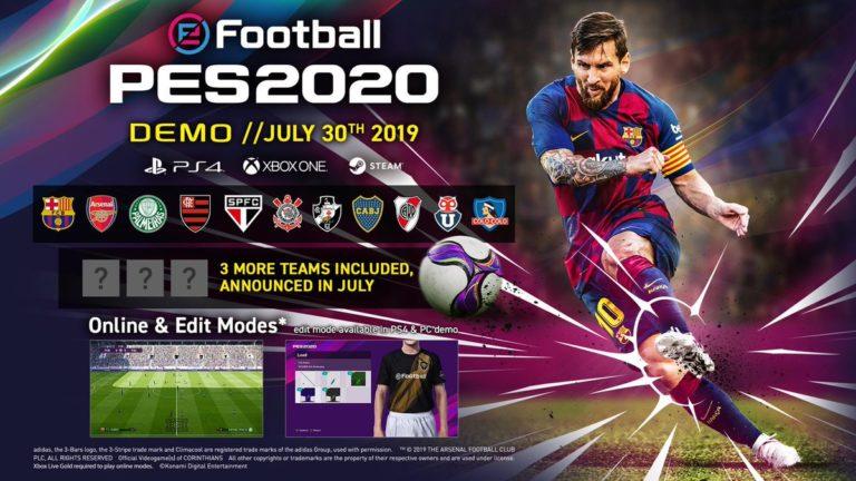 🎮 Demo de PES 2020 esta chegando ao PC, PlayStation 4 e Xbox One